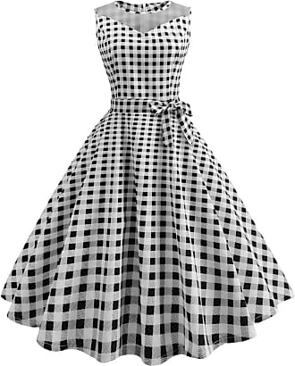 iShine Women Retro Dress Vintage Mesh Piecing Dress Dotted Printed Party Swing Dress