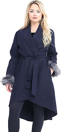Parsa Fashions Womens Sleeves Faux Fox Fur Coat Ladies Jackets High Low Waterfall Duster Belted Cape Parka Outwear Celebrity Trench Coat (One Size (UK 8-14), Navy)