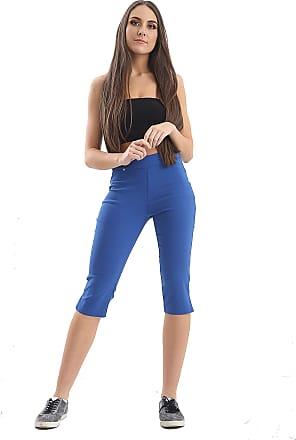 Parsa Fashions Womens Short Stretch Elasticated Waist Trousers Ladies Bengaline Capri Cropped Short Pants (8, Royal Blue)