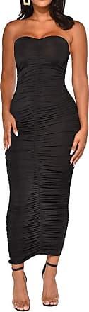 QIYUN.Z Off Shoulder Ruched Sexy Summer Dress Women Backless Bodycon Mini Dress Black 2XL