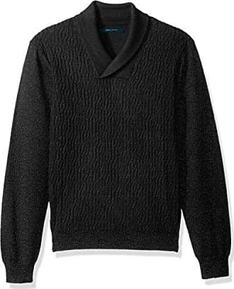 Perry Ellis Mens Cable Shawl Pullover Sweater, Charcoal Heather, Extra Large