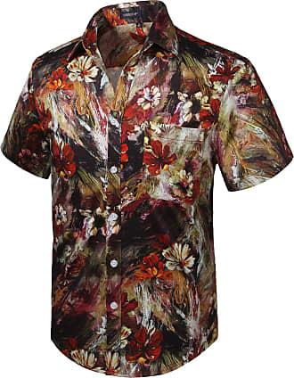 Hisdern Men Funky Hawaiian Floral Shirts Short Sleeve Front Pocket Holiday Summer Aloha Printed Beach Casual Brown Red Shirt 2XL