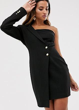 Unique21 Unique21 one shoulder tuxedo dress-Black