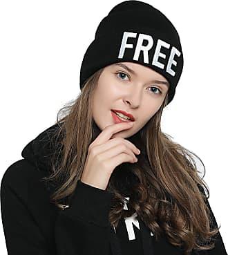 DonDon Womens stylish Beanie black with Statement - FREE