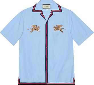 Gucci Camisa Bowling de Fil Coupé con Tigre d160fec0f7b