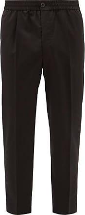 Ami Ami - Elasticated-waist Cropped Wool Trousers - Mens - Black
