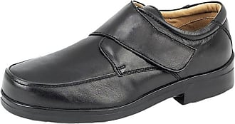 Roamers Mens Leather XXX Extra Very Wide Fit Lightweight Strap Shoes Black 12