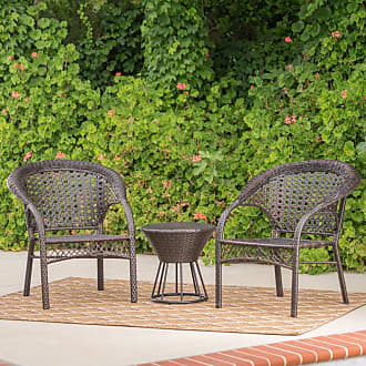 BEST SELLING HOME Hitchcock Wicker 3 Piece Outdoor Stacking Chair Chat Set - 300941