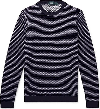Incotex Striped Virgin Wool Sweater - Midnight blue