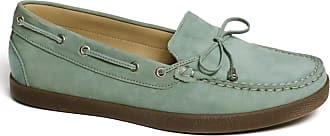 Driver Club USA Womens Leather Made in Brazil Boat Shoe with Tiebow Detail, Baby Blue Nubuck/Natural Sole, 5.5 UK