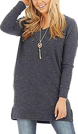 Langärmeliges loses Sweatshirt für Damen Kleid Hoodie Pullover Tunika Tops