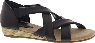 Easy Street womens Zora Espadrille Wedge Sandal Black 9.5 narrow US
