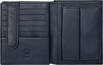 Nuvola Pelle Portafoglio Uomo Verticale a Libro in Pelle Multitasche Portamonete Carte Credito e Tessere Blu