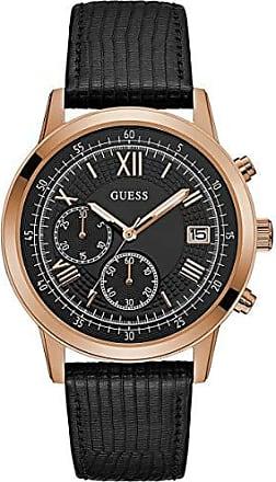 Guess Relógio Masculino Guess Pulseira de Couro Preto, Caixa Aço Rose Gold e Index Roamano 92680GPGDRC6 Cronógrafo