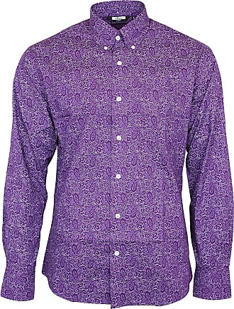 Relco Mens Relco Purple Paisley Longsleeve Button Down 100% Cotton Shirt XX-Large