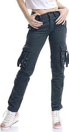 OCHENTA Women Workwear Uniform Combat Cargo 8 Pockets Security Trousers Dark Blue Lable 36-UK 15