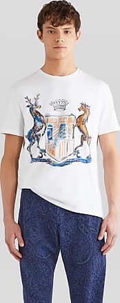 Etro Cotton T-shirt With Heraldic Print, Man, White, Size XXL