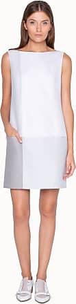 Akris Sleeveless Shift Dress with Grey Color Block