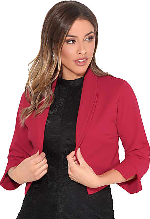 Krisp Womens 3/4 Sleeve Shrug Crop Bolero Top Open Jacket Blazer (Red, 20), 3729-RED-20
