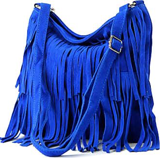 modamoda.de Ital. Leather bag Shoulderbag Shoulder bag Ladiesbag Wild leather T125, Colour:royal blue