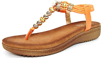 Lunar Womens Acorn Glitzy Toe Post Sandal 5 UK Orange