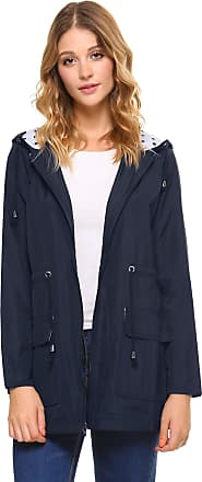 iClosam Women Waterproof Lightweight Hooded Raincoat Outdoor Rain Trench Coat Jacket Windbreaker (Dark Blue, Small)