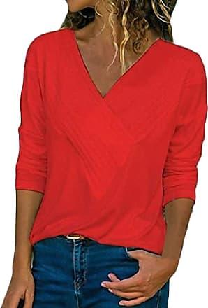 Abetteric Blusa feminina Abetteric slim manga longa gola V cor pura túnica blusa, Vermelho, XXX-Large