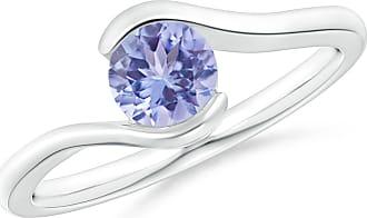 Angara Valentine Day Sale - Semi Bezel-Set Solitaire Round Tanzanite Bypass Ring