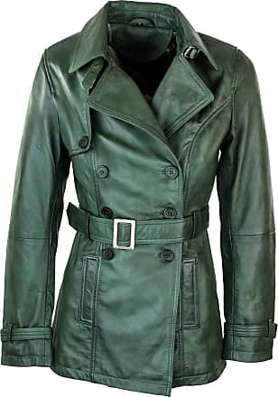 Infinity Womens Green Superior Leather Biker Jacket Coat Vintage Retro Design - Green, l