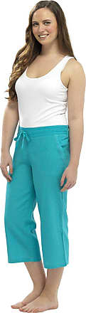 Tom Franks Ladies Women 3/4 Length Linen Trousers With Elasticated Waist