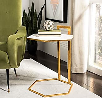 Safavieh ACC3208A Home Collection Mirasol White and Gold Hexagon C Accent Table