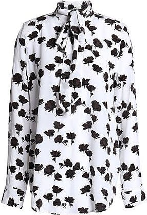 Equipment Equipment Woman Carleen Pussy-bow Floral-print Silk Crepe De Chine Blouse White Size L