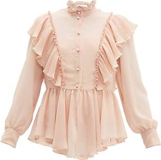 See By Chloé Ruffled Georgette Blouse - Womens - Light Pink