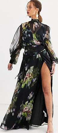 Asos Maxikleid mit verschwommenem Blumenprint auf dunklem Hintergrund-Mehrfarbig