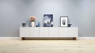 MYCS Lowboard Weiß - Designer-TV-Board: Türen in Weiß - Hochwertige Materialien - 226 x 53 x 35 cm, Komplett anpassbar
