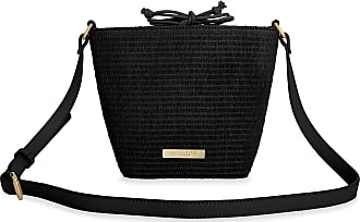 Katie Loxton Callie Womens Straw Adjustable Shoulder Strap Cross Body Bag Black