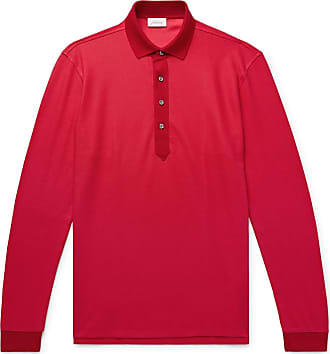 Brioni Cotton And Silk-blend Piqué Polo Shirt - Red