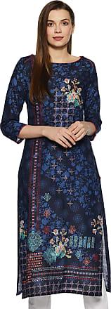 Biba Womens Cotton Straight Kurta (Floral B14933_Blue_2XL (42))