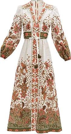 Zimmermann Empire Batik-print Linen-poplin Midi Dress - Womens - White Print