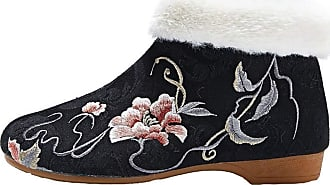 ICEGREY Womens Chinese Embroidered Shoes Winter Boots Slip on Loafer Black-4 7.5