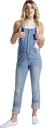 Urban Bliss Ladies Lightweight Stonewash Dungarees - Slim Fit Distressed Denim Buttonfront OLIVIALIGHTWEIGHT-12
