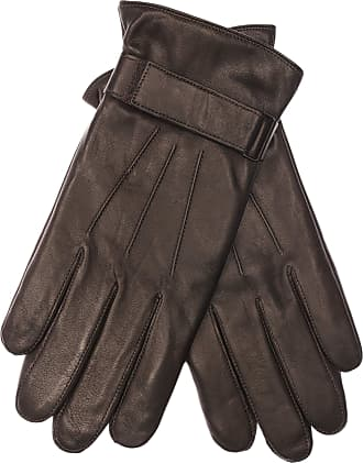 Eem Fashion Mens leather glove MORTEN, made of genuine hairsheep nappa leather with velcro strap, brown, size L
