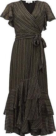 Diane Von Fürstenberg Donnie Metallic Silk Blend-georgette Midi Dress - Womens - Black Gold