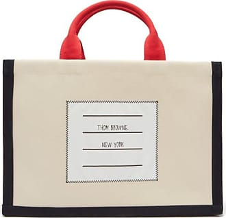 Thom Browne Logo-label Cotton-canvas Tote - Mens - Beige