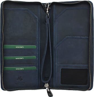 Visconti Hunter Collection WING Leather Travel Wallet & Strap 728 RFID blocking Oil Blue