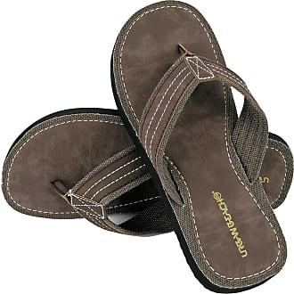 Urban Beach Mens Ridge FW542 Toe Post Beach Flip Flops Sandals Shoes (Size 6, Brown)