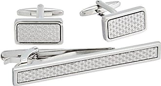Stacy Adams Stacy Adams Mens Silver with Textured Inlay Cuff Link and Tie Bar Set, One Size