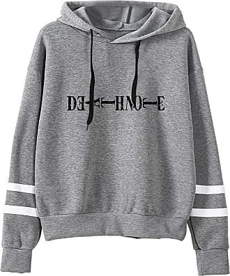 Haililais Death Note Pullover Pullover Sweatshirt Fashion Sweater Outerwear Adult Casual Sports Warm Wild Long Sleeve Men and Women Unisex (Color : Gray04, Size