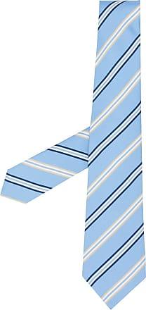 Kiton Gravata de seda com bordado e listras - Azul