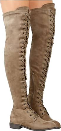 NOADream Women Over Knee Long Boots Flats Suede Leather Rome Style Lace-Up Warm Work Walking Riding Party Stretch Thigh High Boots Size Khaki